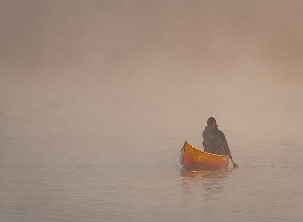 Morning mist on Diamond Lake