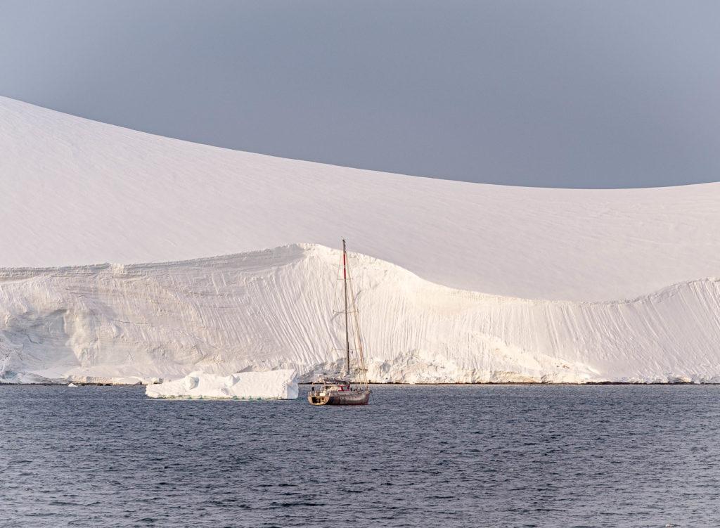 Sailboat moored near Mikkelsen Harbor, Trinity Island