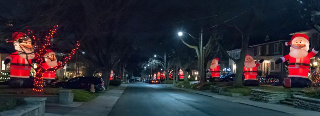 Santa Clauses on Inglewood Drive.